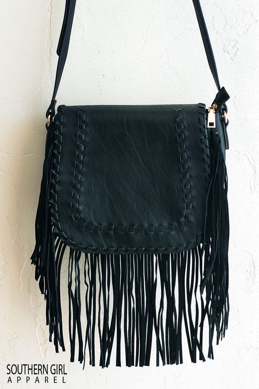 ... black Faux Leather Crossbody Purse with Fringe -  Southerngirlapparel.com ... a73c40bea4b15