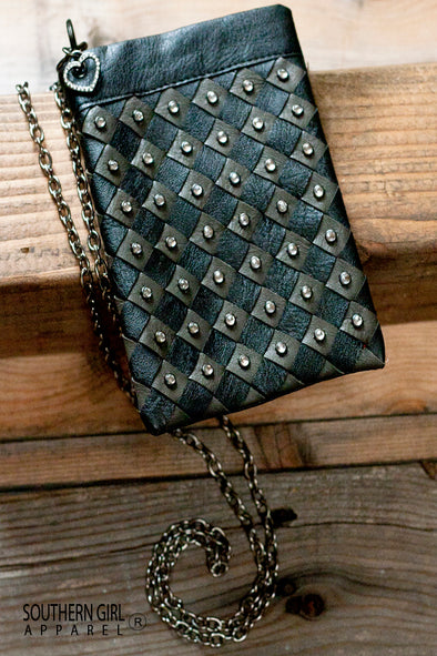 Black Leatherette Mini Crossbody Bag with Rhinestone Embellishments with Chain Strap - Southern Girl