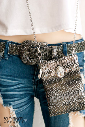 Metallic Silver & Black Mini Crossbody Bag w/Rhinestones and chain strap - Southern Girl Apparel® - southerngirlapparel.com