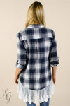 Women's Plaid and Lace Button Up Blouse