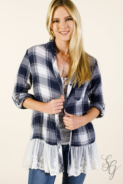 Women's Plaid and Lace Button Up Blouse Tops - SouthernGirlApparel.com