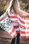 American Flag Red White and Blue semi sheer Kimono Vest Wraps & Jackets - SouthernGirlApparel.com