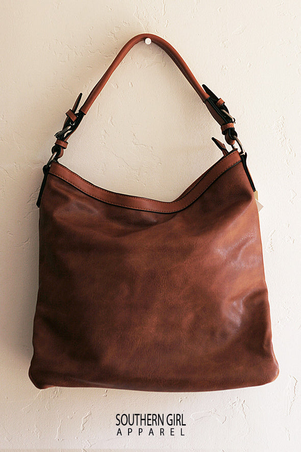 Brown Soft Faux Leather Tote Purse with Handheld and Adjustable Shoulder Strap Purses & Handbags - SouthernGirlApparel.com