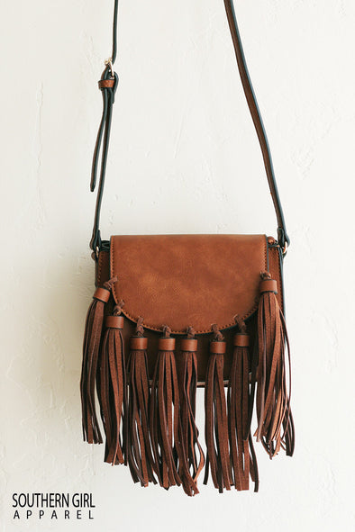 Brown Faux Leather Crossbody Mini Messenger Bag with fringe Tassels - Southern Girl Apparel® - Southerngirlappare.com