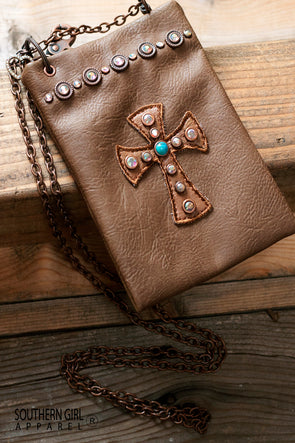 Leatherette Mini Crossbody Bag with Rhinestones and Cross with Chain Strap - Southern Girl