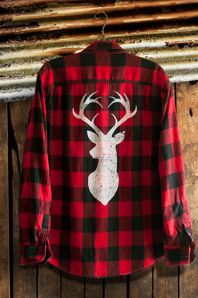 Buffalo Plaid Flannel with White Deer Head graphic tees - SouthernGirlApparel.com