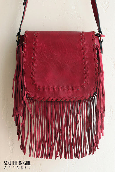 Burgundy Faux Leather Crossbody Purse with Fringe - Southerngirlapparel.com