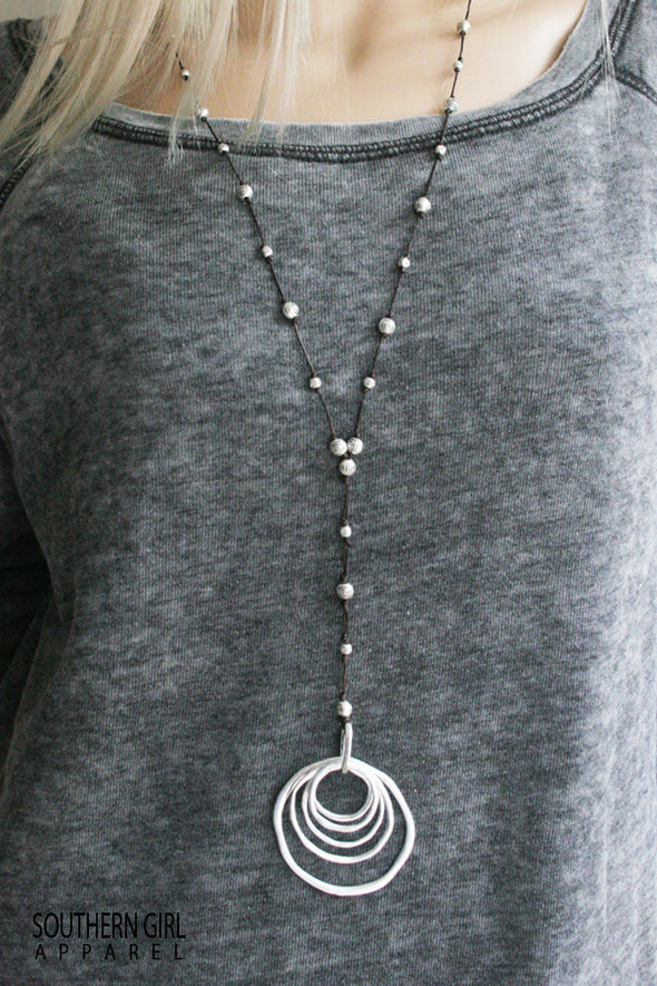 Long Necklace with Metal Alloy Rings and Beads jewelry - SouthernGirlApparel.com