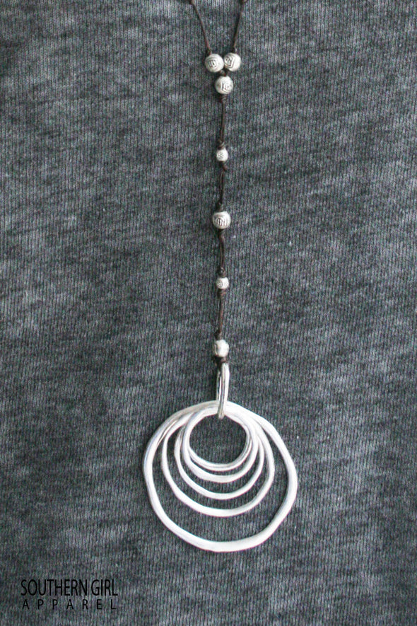 Long Necklace with Metal Alloy Rings and Beads