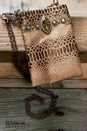 Metallic Copper and Brown Faux Leather Mini Crossbody Bag with Rhinestones and Chain Strap - Southern Girl
