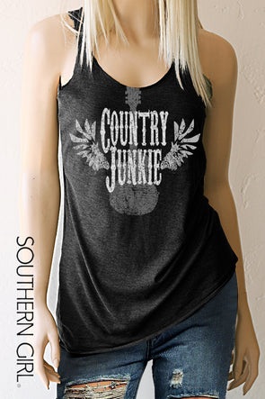 Country Junkie Heather Black Racerback Tank Top Tank Top - SouthernGirlApparel.com