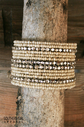 Beige and Silver Wide Beaded Wire Flex Cuff Bracelet jewelry - SouthernGirlApparel.com