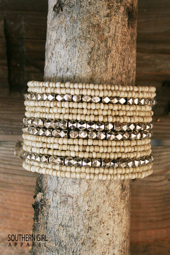 Beige and Silver Wide Beaded Wire Flex Cuff Bracelet