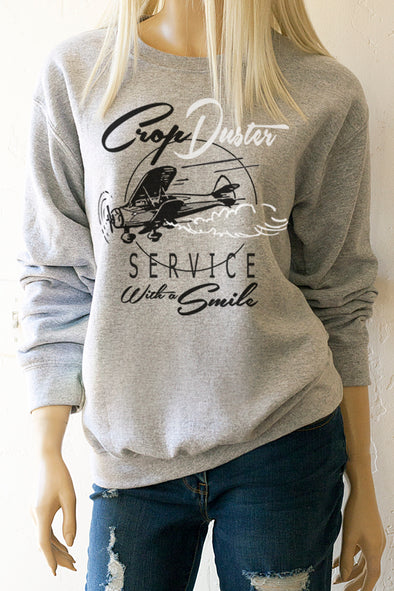 Crop Duster Service with a Smile Sweatshirt - Southern Girl Apparel® - southerngirlapparel.com