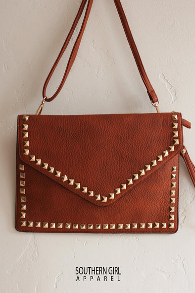 Faux Leather & Studs Crossbody or Clutch Purse - Southern Girl