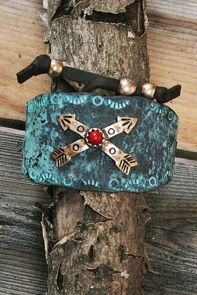 Crossed Arrows Metal Adjustable Patina Bracelet jewelry - SouthernGirlApparel.com