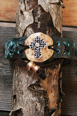 Cross Metal Adjustable Bracelet - Southern Girl