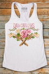Dangerous Roses & Guns Racerback Tank Top