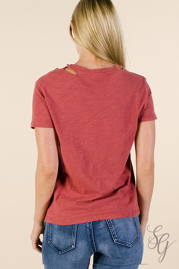 Junior's Distressed Rose colored T Shirt