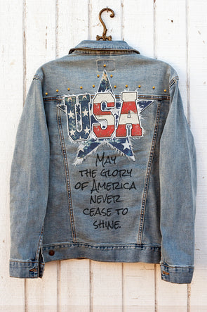 USA American Flag Applique Denim Jacket with studs Denim Jacket - SouthernGirlApparel.com