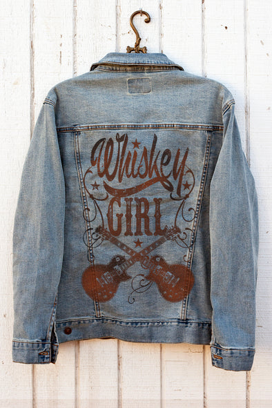 Whiskey Girl Denim Jacket Denim Jacket - SouthernGirlApparel.com