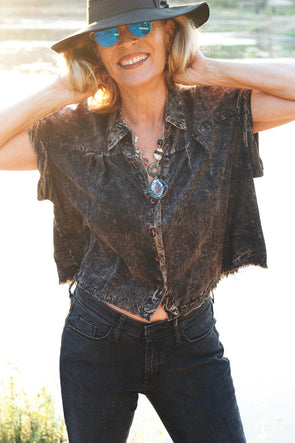 Women's Distressed Brown/black Short Rolled Sleeve Blouse