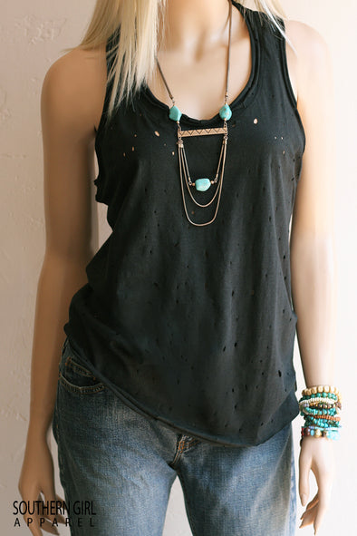 Junior Fashion Distressed Racerback Tank Top