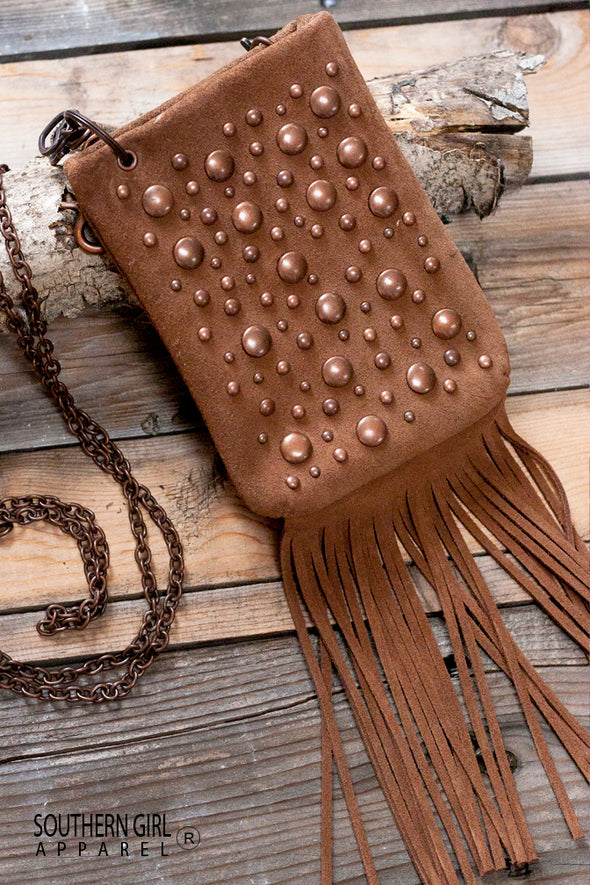 Nailhead Embellished Mini Crossbody Bag with Fringe and Chain Strap Purses & Handbags - SouthernGirlApparel.com