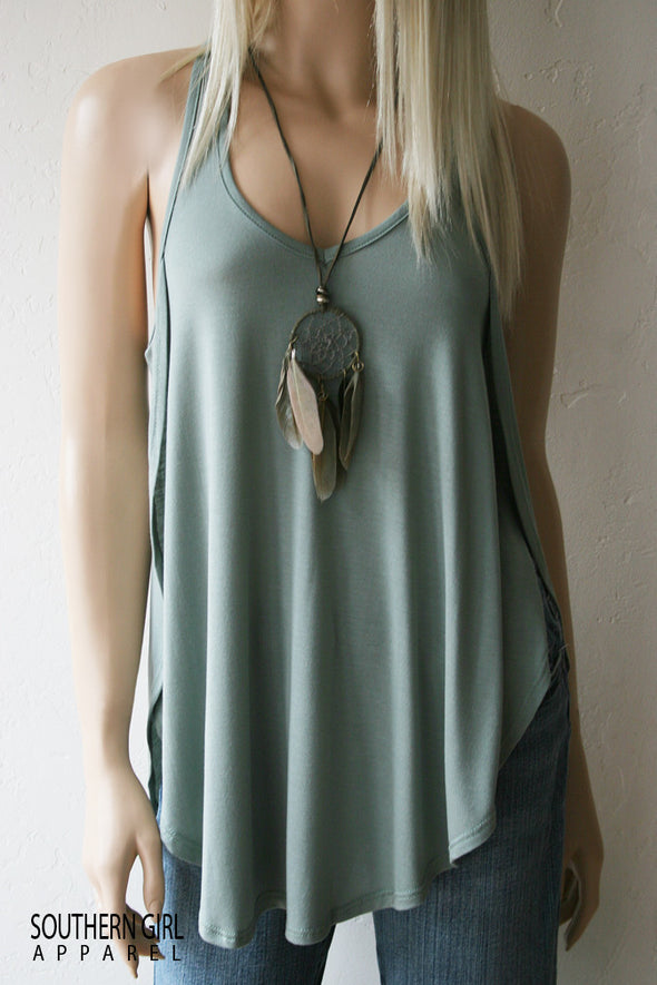 Beautiful Soft Blue/Green Open Side Racer Back Tank Top Tanks - SouthernGirlApparel.com