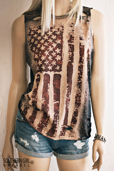 Acid Washed Distressed American Flag Muscle Tank Top  - SouthernGirlApparel.com