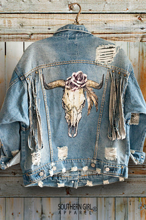 Fringed, Distressed & Shredded Bull Head Skull & Roses Denim Jacket Wraps & Jackets - SouthernGirlApparel.com