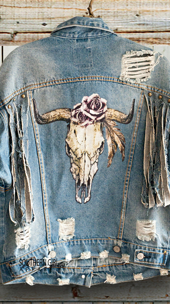 Fringed Distressed Bull Skull & Roses Denim Jacket Closeup