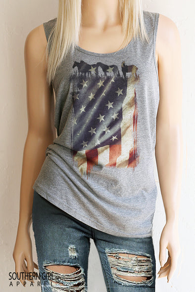 American Flag with Horses Scoop Neck, Full Back Tank Top - Southern Girl