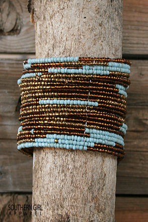 Turquoise and Brass colored Wide Beaded Flex Cuff Bracelet - Southern Girl