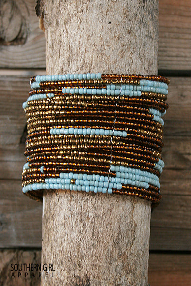 Turquoise and Brass colored Wide Beaded Flex Cuff Bracelet jewelry - SouthernGirlApparel.com
