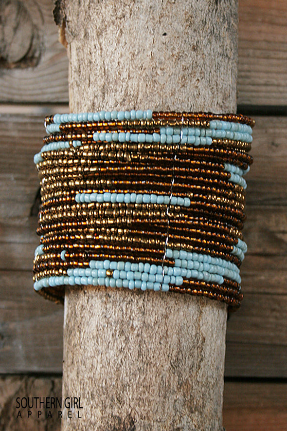 "Turquoise and Brass colored Beads - Multi-layered beaded wire flex cuff bracelet  - Approx. 2.5"" inner diameter  - Approx. 1.75"" wide-free shipping-SouthernGirlApparel.com"