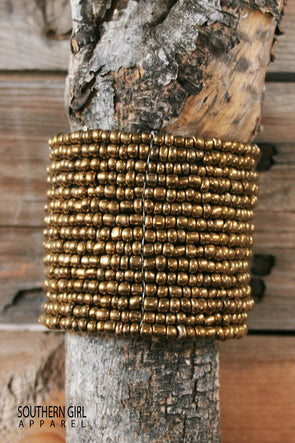 "Gold tone Beads - Great base for stacking bracelets - Wide Multi-layered beaded wire flex cuff bracelet  - Approx. 2.5"" inner diameter-Approx. 1.75"" wide-free shipping-SouthernGirlApparel.com"