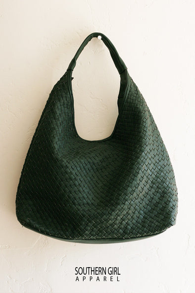 Green Cross Woven Faux Leather Hobo Handbag - Southern Girl