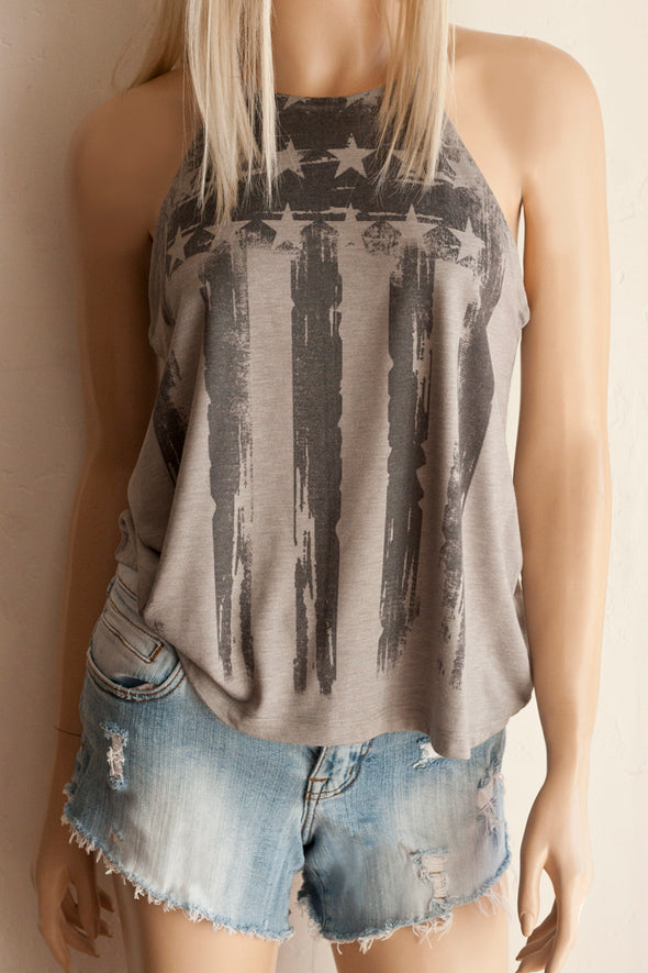 Women's Black American Flag on Grey High Neck Spaghetti Strap Tank Top - Southern Girl Apparel® - southerngirlapparel.com