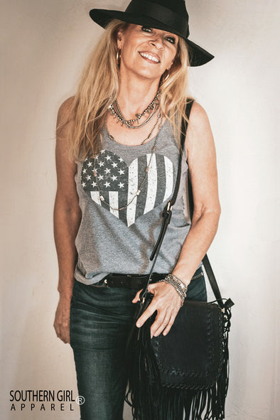 American Flag Heart Grey Racerback Tank Top - Southern Girl