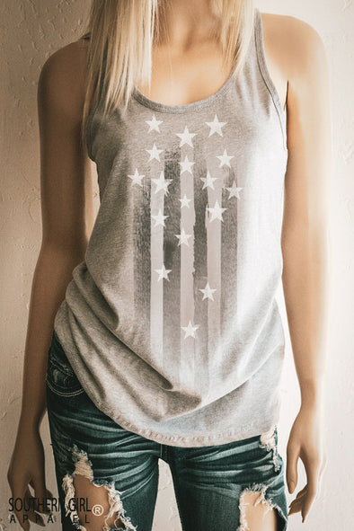 Stars and Stripes Women's Racerback Tank Top Tank Top - SouthernGirlApparel.com