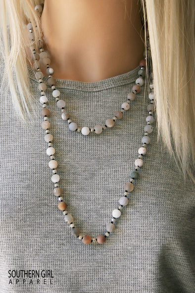 Long Multi Color Beaded Single-Strand Necklace jewelry - SouthernGirlApparel.com