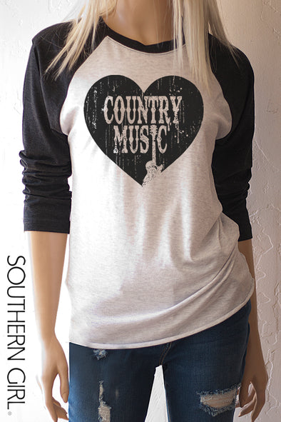 Heart Country Music Baseball Tee T-Shirts - SouthernGirlApparel.com
