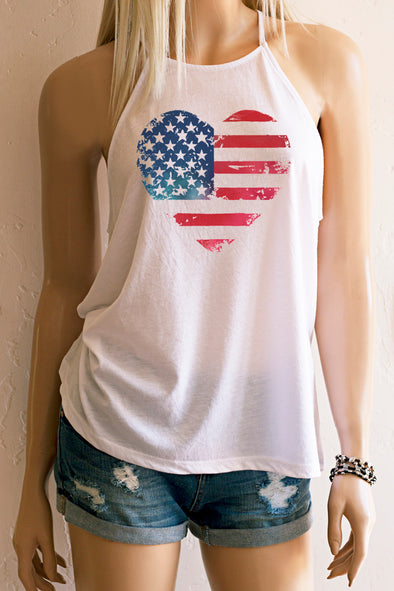 Heart American Flag High Neck Spaghetti Strap Loose Fitting Tank Top Tank Top - SouthernGirlApparel.com