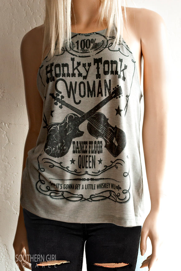 Honky Tonk Woman Dance Floor Queen High Neck, Spaghetti Strap, Loose Fitting Tank Top