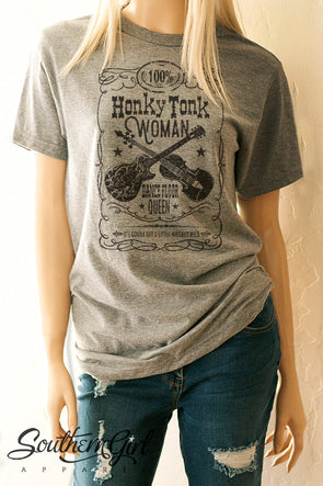 Honky Tonk Woman T-Shirt. Available in black or white or heather grey - Southern Girl Apparel® - southerngirlapparel.com