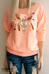 Boho Bull Skull Roses Lightweight Sweatshirt in sof iice cream sherbert orange - Limited Edition - Southern Girl Apparel® - southerngirlapparel.com