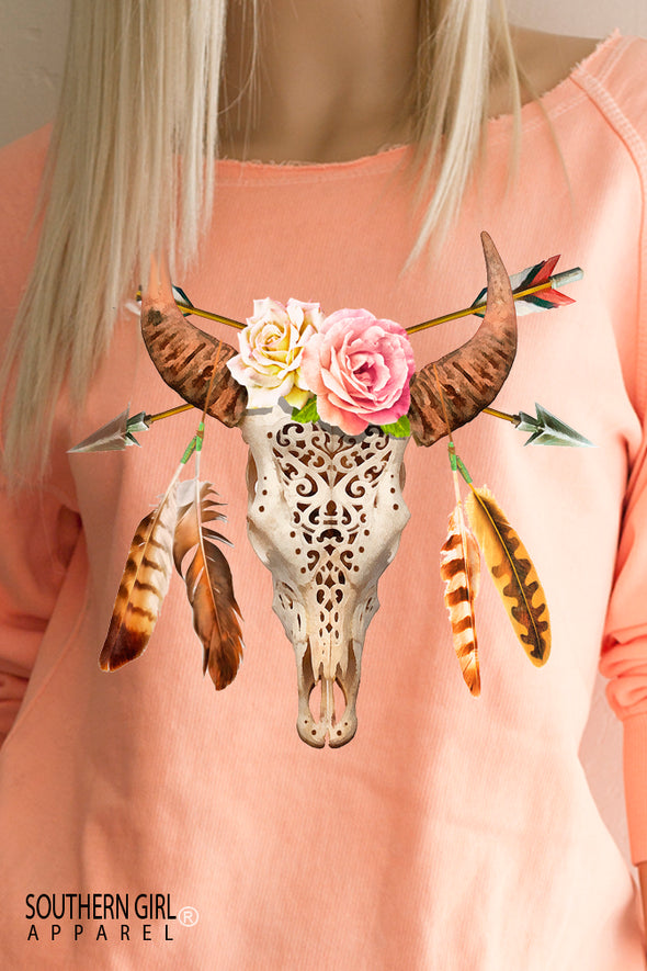 Boho Bull Skull Roses Lightweight Sweatshirt in soft ice cream sherbert orange - Limited Edition