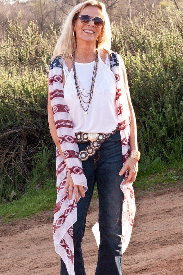 Indian Print Semi Sheer Kimono Cardigan