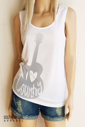 I Heart Country Scoop Neck, Full Back Tank Top Tank Top - SouthernGirlApparel.com